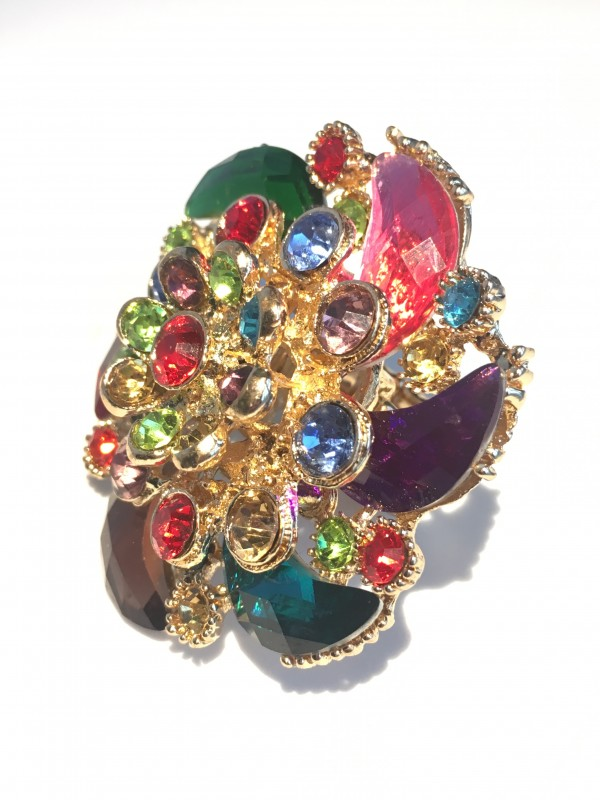 Bague Eoli strass Multicolor