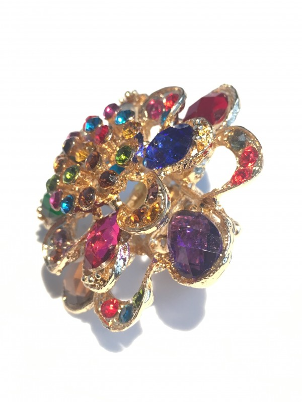Bague Pasti strass multicolor Atelier la Colombe Strasbourg