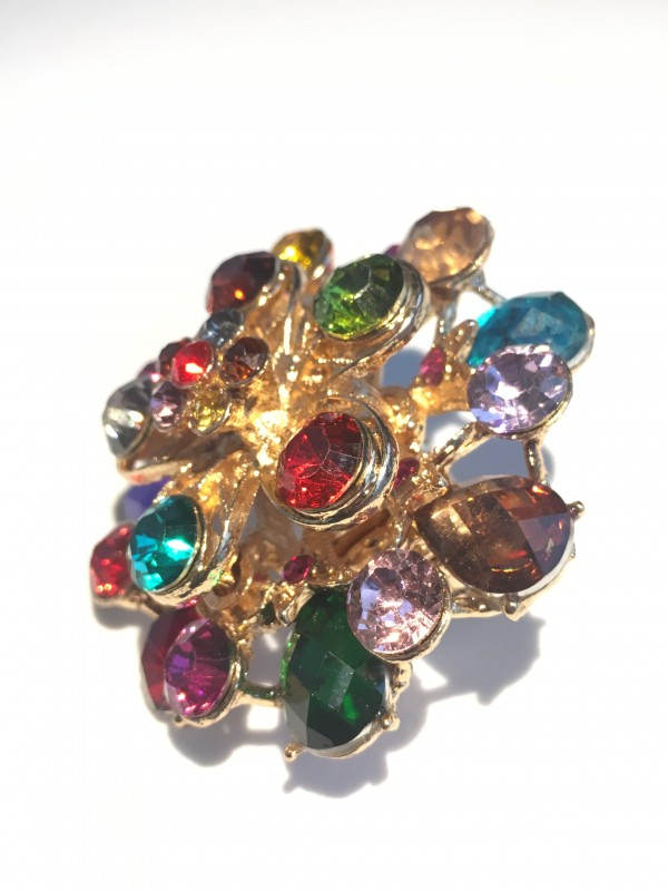 Bague Larmy strass Multicolor