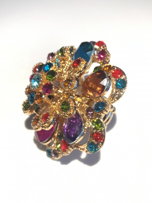 Bague Torsad strass Multicolor