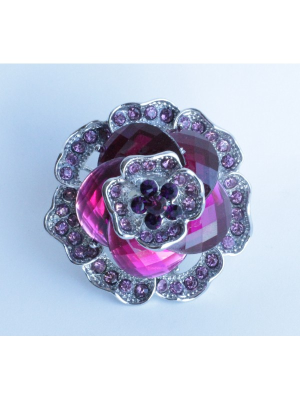 Bague Margu strass Fuchsia